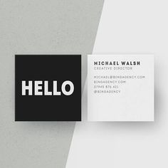 Customised Square Business Cards, Minimalist Black and White Calling Cards, Hello Personalised Name Card, Modern Office Stationery, Digital