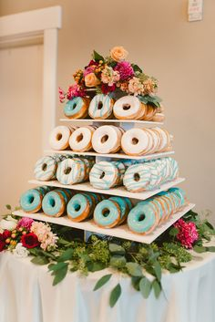 19 Mouth-watering Wedding Cake Alternatives to Consider - Barbies Hochzeit - Wedding Cakes Donut Wedding Cake, Wedding Donuts, Wedding Cakes, Cupcake Wedding Display, Wedding Sweets, Donut Bar, Donut Tower, Doughnut Cake, Wedding Cake Alternatives