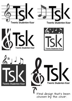 Concepts for TSK (Twents Studentenkoor) logo, you can see the design stages clearly and also three parallel designs. The design in the bottom right is the final design.   You'd like to have a design like this? Check www.beeldkrachtontwerp.nl