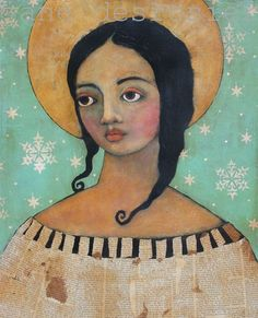 Scripture Angel painting by Jane DesRosier  I have on my bathroom storage.....I cut and pasted a print of this....