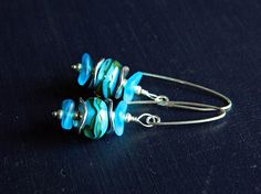 Blue Seaglass earrings with Lampwork Turquoise Lampwork