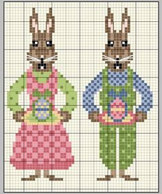 Cross=stitch Easter Bunny family... no color chart available, just use the pattern chart as your color guide.. or choose your own colors...   gazette94: GRILLE GRATUITE 75