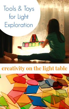 A review of simple light table toys and tools, including letter gems, mosaic tiles, magnetic shapes, and magnetic toys. Plus DIY light table instructions!