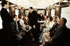 A scene from 'Murder on the Orient Express' with Jean-Pierre Cassel, Anthony Perkins, Vanessa Redgrave, Sean Connery, Ingrid Bergman, Albert Finney, Michael York, Jacqueline Bisset, Lauren Bacall and Martin Balsam.