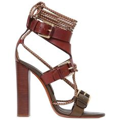 Etro Women 105mm Rope & Leather Bi Color Sandals (5,695 GTQ) ❤ liked on Polyvore featuring shoes, sandals, heels, etro, sapatos, leather high heel sandals, laced sandals, lace-up heel sandals, heeled sandals and leather sole sandals