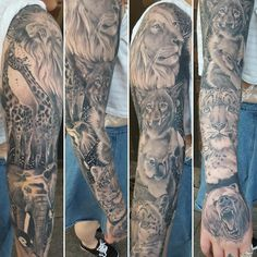 A beautiful sleeve of animal realism from jaz winters. i like the spacing between the animals' faces. they're slightly overlapped Forest Tattoo Sleeve, Animal Sleeve Tattoo, Forest Tattoos, Tribal Sleeve Tattoos, Sleeve Tattoos For Women, Tattoo Sleeve Designs, Leg Tattoos, Girl Tattoos, Tattoo Animal