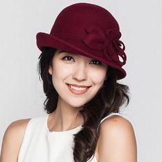 Women crimping flower cloche hat elegant bowler trilby winter hats