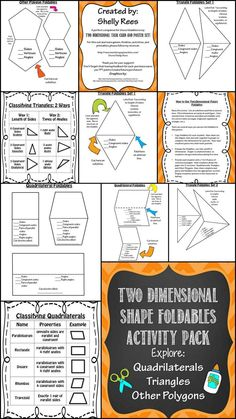2-Dimensional Shapes Foldables!  What a great way to have students explore two-dimension figures!  This pack includes foldables for quadrilaterals, triangles, and other polygons.  Includes classification and categorization charts and teaching ideas and suggestions.  These foldables are perfect for pasting into math journals, creating interactive bulletin boards, or Math Center work.  Love it!
