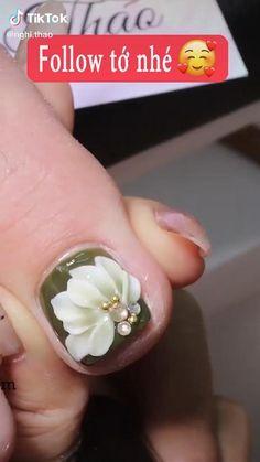 Pedicure Nail Designs, 3d Nail Designs, Nail Art Designs Videos, Pedicure Nail Art, Nail Art Videos, Acrylic Nail Designs, Rose Nail Art, Floral Nail Art, Rose Nails