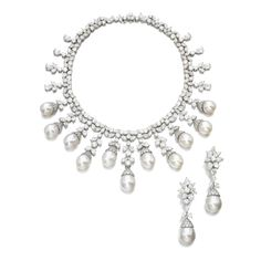 Diamond and cultured pearl demi-parure, Harry Winston Comprising: a necklace designed as a slightly graduated fringe set with marquise-, pear-shaped and brilliant-cut diamonds suspending cultured pearls, necklace inner circumference approximately 360mm, mark for Jacques Timey, case by Harry Winston; the pair of ear clips with detachable pendants; each with maker's marks for Harry Winston and Jacques Timey.