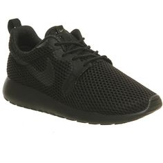 Nike Roshe Run Hyp W ($105) ❤ liked on Polyvore featuring shoes, athletic shoes, black breathe, hers trainers, trainers, nike footwear, light weight shoes, nike shoes, breathable shoes and black athletic shoes