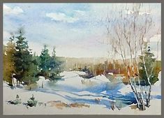 Watercolor Scenery, Watercolor Pictures, Watercolor Artwork, Watercolor Landscape, Abstract Landscape, Watercolor Flowers, Painting Snow, Winter Painting, Landscape Drawings