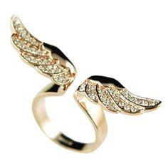 Encontre mais Anéis Informações sobre 2016 Drop Shipping charme jóias de ouro asas de anjo em forma completa pedrinhas embutidos Lady anel, de alta qualidade almofada de jóias, jóias suspensão China Fornecedores, Barato caule anel de Fancyqube Fashion store em Aliexpress.com