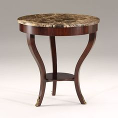 """Empirestyle round wood table with palissander veneer and brown Emperador marble top. Made in Italy; 28¼"""" x 29¼"""" h. Decorative Crafts features a variety of luxurious occasional tables for your interior design! DecorativeCrafts.com #decorativecrafts #occasionaltable #occasionaltables #table #tables #imported #luxurious #interior #interiordesign #interiordecor #luxury #elegant #chic #roomdesign #rooms #room"""