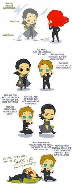 The Avengers clintasha loki natasha clint chibi