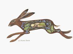 This is a print from an original acrylic painting on paper by Artist/Illustrator Karen Davis. Print area measures approximately 27 x 14 cms within Hare Illustration, Illustrations, Acrylic Painting On Paper, Mary Cassatt, Rabbit Art, Rabbit Book, Bunny Art, Henri Matisse, Claude Monet