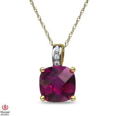 Ebay NissoniJewelry presents - Ladies Diamond Accent Pendant and chain with Created Ruby in 10k Yellow Gold    Model Number:PV4314A-Y077CRU    http://www.ebay.com/itm/Ladies-Diamond-Accent-Pendant-and-chain-with-Created-Ruby-in-10k-Yellow-Gold/221877919618