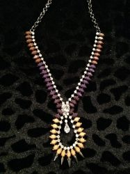 Long Diamond, Stoned, Spiked Necklace for sale at Glamhairus.com