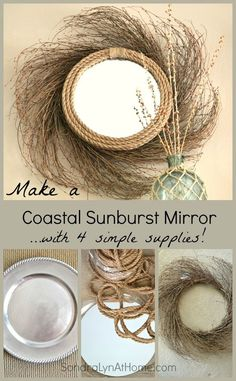Beautiful home decor idea! Make a Coastal Sunburst Mirror using 4 simple supplies including a wreath, rope, a mirror and this DIY design tutorial from Sondra Lyn at Home Crafts To Make, Fun Crafts, Arts And Crafts, Rope Crafts, Seashell Crafts, Home Decor Mirrors, Diy Home Decor, Mirror Crafts, Sunburst Mirror