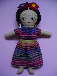 FRIDA KAHLO DOLL  - Handmade ragdoll art doll Mexican cloth doll - Made to Order
