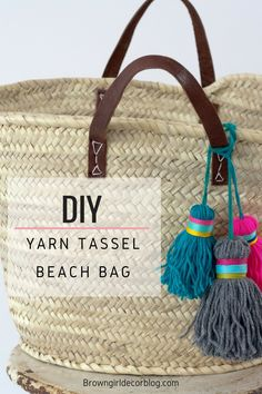 Yarn tassel beach bag2