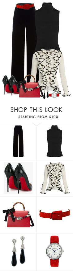"""""""Ruffles on Black"""" by ahapplet ❤ liked on Polyvore featuring T By Alexander Wang, Acne Studios, Christian Louboutin, Alexander McQueen, Gucci, Più & Più, Kenneth Jay Lane, Christmas, white and black"""