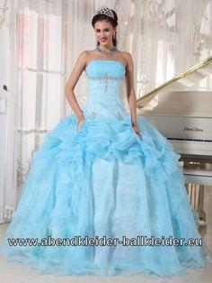 Hell Blaues Corsage Sissi Kleid Weites Abendkleid Ballkleid