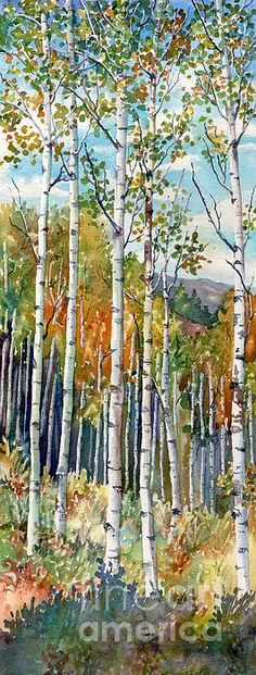 A watercolor of aspen by Lorraine Watry. Print is for sale on Fine Art America.