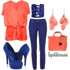 blue and coral, created by lapetiterousse on Polyvore