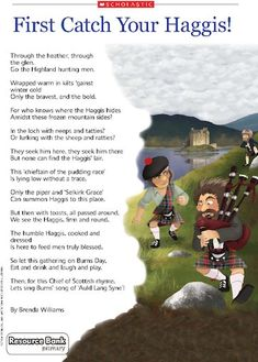 'First Catch your Haggis!' poem for Robert Burns Night – Primary teaching resource - Scholastic Scottish Poems, Scottish Gaelic, Scottish Thistle, Scottish Sayings, Robbie Burns Night, Burns Night Poem, Burns Night Quotes, Katie Morag, Burns Supper