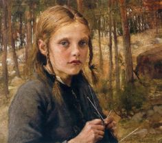"""""""A Girl Knitting Socks"""" by Albert Gustaf Aristides Edelfelt, 1854-1905. Edelfelt was one of the first Finnish artists to achieve international fame. He enjoyed considerable success in Paris and was one of the founders of the Realist art movement in Finland."""