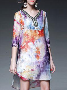 Multicolor 3/4 Sleeve H-line Crew Neck Mini Dress