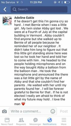 What a sweet man.  Vote Bernie Sanders for President! #FeeltheBern