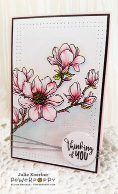Planning for Magnolias stamp set by Power Poppy, card design by Julie Koerber.