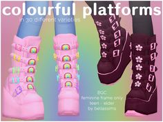 Colourful Platform Boots | Bellassims on Patreon Sims 4 Mods Clothes, Sims 4 Clothing, Sims Mods, Sims 4 Anime, Sims 4 Traits, Sims 4 Collections, Sims 4 Cc Shoes, Play Sims, Sims 4 Mm Cc