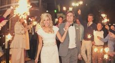 Wedding dress, hair, and exit