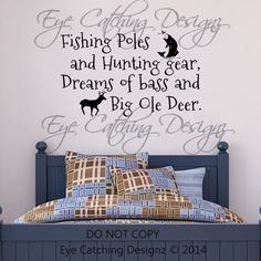 Fishing Poles Hunting Gear Dreams Of Bass Big Ole Deer Country Bedding Bedroom Wall Decal Home Decor Vinyl Art Nursery Bedding Bedroom Decor by EyeCatchingDesignz on Etsy