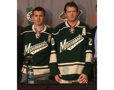 """The newest members of the Minnesota Wild wearing their new sweaters! - W/ """"A""""s too! Lookin' good, boys. (Love those jerseys)"""