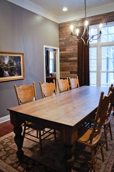 Farmhouse Table Glazed/Distressed Pressed Back Oak Chairs with Annie Sloan Arles Chalk Paint... Let's eat! Wood Accent Wall Palletless Pallet gray barnwood rustic looking dining room wall