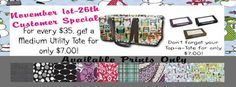 November special!!  The Medium Utility Tote is BACK!  Only in November!!  BONUS, we will also have Top-A-Totes to fit!!!