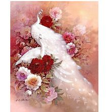 Animals Mosaic DIY diamond Painting crystal white peacock 3D Cross Stitch Decorative diamond embroidery square Rhinestone CX584(China (Mainland))