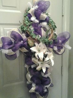 Mesh Easter Cross Wreath