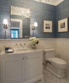 Grasscloth, marble subway tile, chevron floor BathroomLighting is part of Beach bathroom decor - House, Home, Bathroom Makeover, Chevron Floor, Bathrooms Remodel, Bathroom Design, Bathroom Decor, Beautiful Bathrooms, Beach Bathroom Decor
