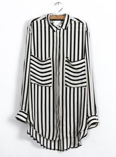 Stripes Loose Irregular Hem Shirt $46.8 originally, now only $39! Ship in 24hrs!  Save to win earrings here:http://www.udobuy.com/article-40.html