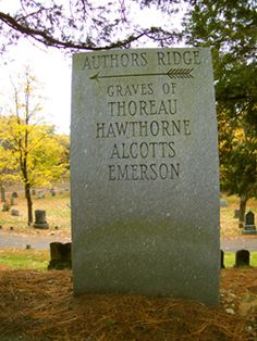 Here are the graves of Henry David Thoreau, Louisa May Alcott, and Ralph Waldo Emerson, as well as their families.