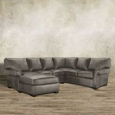 """Brentwood 124"""" Three Piece Leather Sectional In Saloon Grey"""