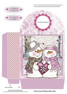 Snow in Love Large Gift Bag on Craftsuprint designed by Janet Roberts - This gift bag matches my 'Snow in Love' mini kit ....... please see the link below - Now available for download!