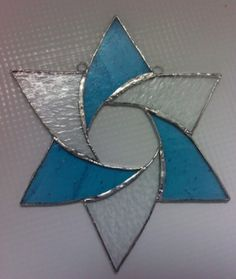 6 piece star of David textured clear and blue
