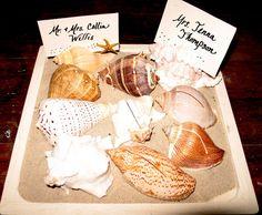 Beach Wedding Placecards in Handwritten Calligraphy Style on Real Sea Shell Holders Cut Shells #beach #wedding #shells #handmade