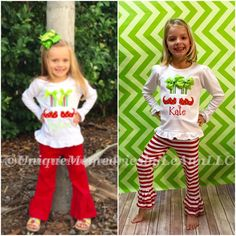 New Double Ruffle pants available on select sizes of red and white striped pants for this adorable Christmas Elf feet & socks outfit! #christmas #elf #doublerufflepants #ruffleshirt #bows #christmasoutfit #etsy #etsyshop #uniquememoriesbyleann #etsyseller